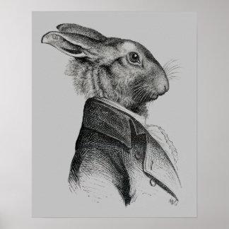 Poster Profil de portrait de lapin