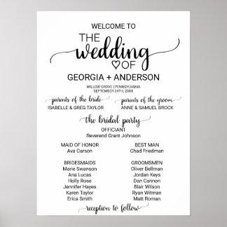 Poster Programme blanc et noir simple de mariage de