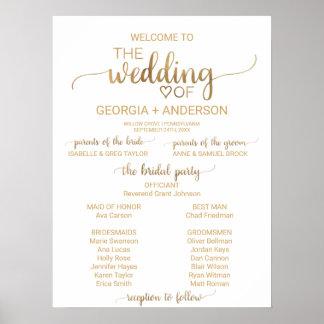Poster Programme élégant simple de mariage de