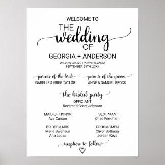 Poster Programme noir et blanc simple de mariage de