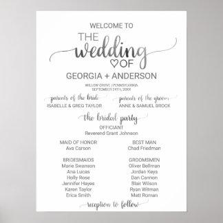 Poster Programme simple de mariage de calligraphie