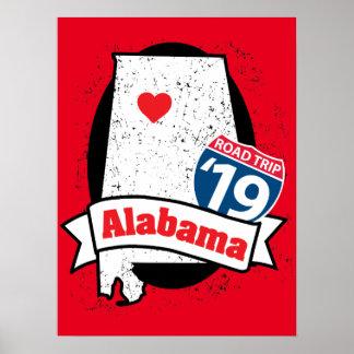 Poster Promenade en voiture '19 Alabama - affiche rouge