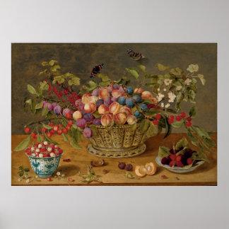 Poster Prunes, abricots, cerises et groseilles dans un