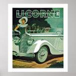 Poster Publicité d'automobile de Licorne
