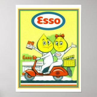 Poster Publicité vintage 12 x 16 d'essence d'Esso