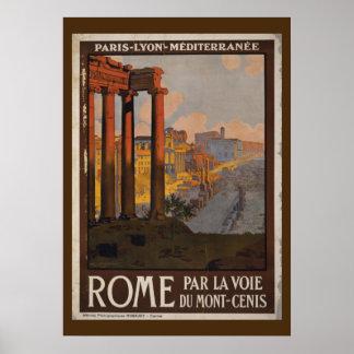 Poster Publicité vintage de voyage de forum romain