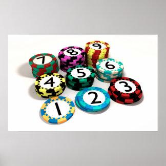 Poster Puce de casino empilée dans l'ordre de quantité