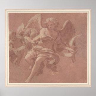 Poster Putto et ange tenant une banderole