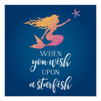 Poster Quand vous souhaitez sur une étoile de mer