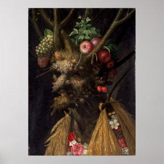 Poster Quatre saisons dans une tête par Giuseppe