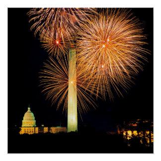 Poster Quatrième de juillet, affichage de feu d'artifice,