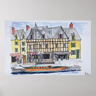 Poster Quay Franklin, Saint-Goustan   Auray, la Bretagne