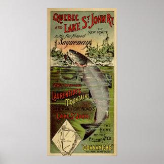 Poster Quebec & Lake St-John Railway Antique Advertising