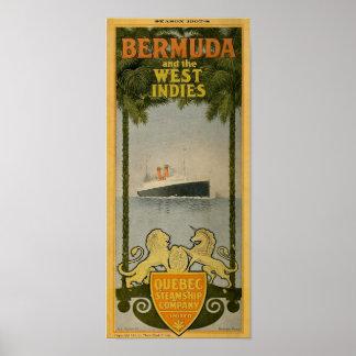Poster Quebec Steamship Co. Bermuda Antique Advertising