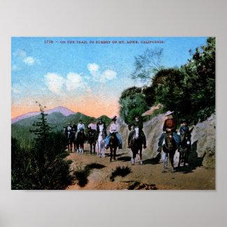 Poster Randonnée à cheval, Mt. Lowe, cru de la Californie
