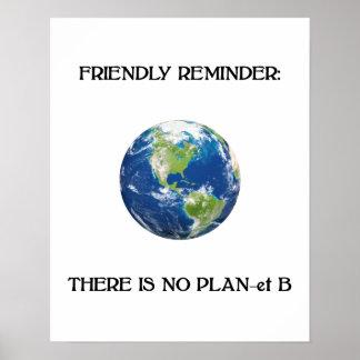Poster Rappel amical aucune affiche de la terre du plan b