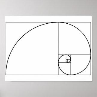 Poster Rapport d'or en spirale de Fibonacci