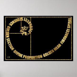 Poster Rapport d'or, spirale de Fibonacci