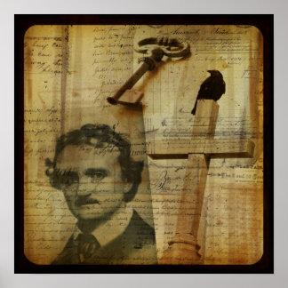Poster Raven, collage de Poe