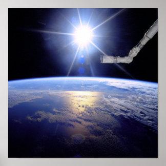Poster Rayon de soleil d'orbite terrestre de bras de