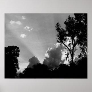 Poster Rayons de B&W Sun au coucher du soleil - photo de