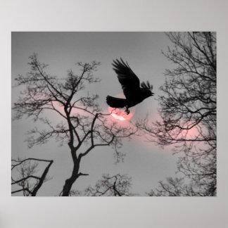 Poster Rayure rose de ciel