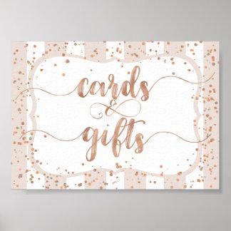 Poster Rayures de sable et cartes et cadeaux roses de