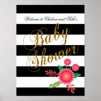 Poster Rayures noires et blanches élégantes avec floral