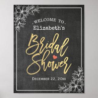 Poster Réception de bienvenue nuptiale florale de douche