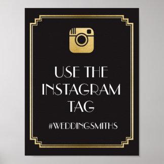 Poster Réception de mariage de signe de barre d'Instagram