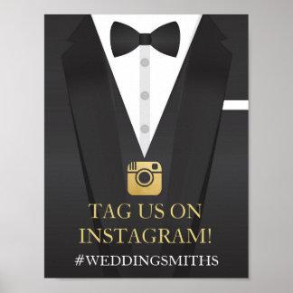 Poster Réception de mariage de signe de cravate d'arc