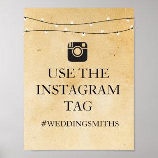 Poster Réception de mariage rustique de signe d'Instagram