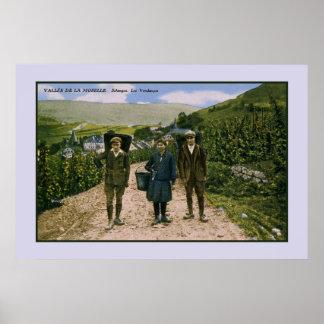 Poster Récolte 1900 de vin de la Moselle Schengen