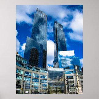 Poster Réflexion de ciel outre des gratte-ciel NYC