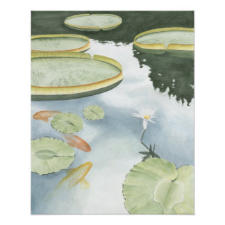 Poster Réflexion d'étang de Koi avec des poissons et des