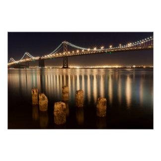 Poster Réflexions de nuit de pont de baie d'Oakland