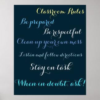 Poster Règles de salle de classe