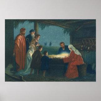 Poster Religion vintage, adoration des bergers