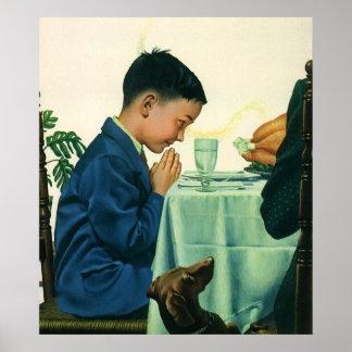 Poster Religion vintage, garçon disant la grâce au