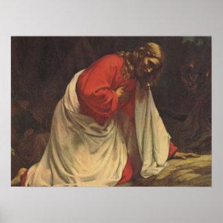 Poster Religion vintage, Jésus-Christ dans Gethsemane