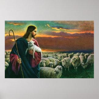 Poster Religion vintage, le Christ le berger avec le