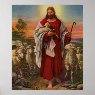 Poster Religion vintage, le Christ le bon berger