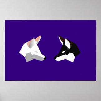 Poster Renards jumeaux minimalistes à deux tons