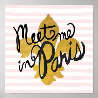 Poster Rencontrez-moi en noir et or de Paris