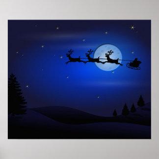 Poster Renne de Père Noël au-dessus de lune dans le bleu