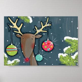 Poster Renne lumineux de Noël