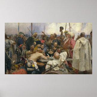 Poster Réponse d'Ilya Repin des Cosaques de Zaporozhian
