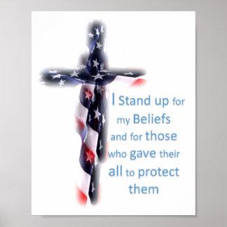 Poster Représentez l'appui de drapeau de croyances nos