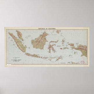 Poster République de l'Indonésie Map (1957)