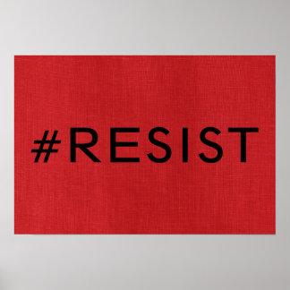 Poster #Resist sur l'affiche de toile rouge de photo de